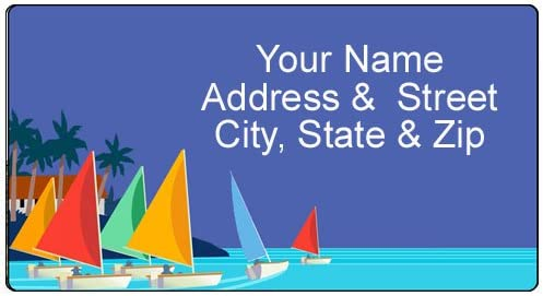 Name Labels Oceanic Theme Retro Style Drawing Effect Framed Nautical Collection Suitcase Address Label