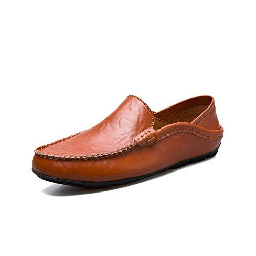Shufang Zapatos la 47 holgazán de tamaño Ocio Mocassins Moda para Brown resbalón shoes del EU Mocasines para 2018 Hombre talón Red Hombre Mens del del Zapatos del del Planos Yello Brown Color YaYZrwfq