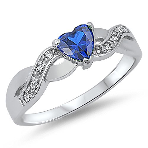- Blue Simulated Sapphire Infinity Knot Heart Ring .925 Sterling Silver Band Size 10