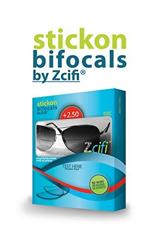 Stick on Bifocals by Zcifi Lenses +2.50 - FREE Case - - Sunglasses Lenses Stick For On