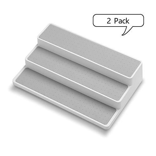 Kosiehouse Non-slip 3 Tier Spice Rack Step Shelf Organizer for Kitchen Pantry, Cabinet, Countertops, Vanity, Office, Craft Room - 2 Pack (Organizer Tiered Shelf)