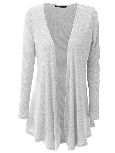 HILEELANG Women Open Front Drape Hem Lightweight Cardigan Knit Thin Sweaters Cover Up Tunic Wrap Tops White,Medium ()