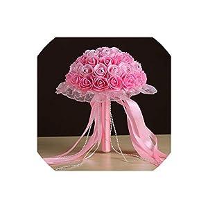 meet-you Bridal Wedding Bouquets Handmade Holding Artificial Foam Rose Rhinestone Decor Lace Edge Collar Long Ribbon Beaded Chain GAI,4 102