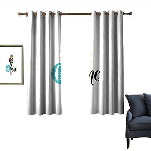 longbuyer Romantic Light Luxury high-end Curtains Colorful Patterned Heart Shape with a Crown Creative Typography Phrase Be Mine Blackout 55