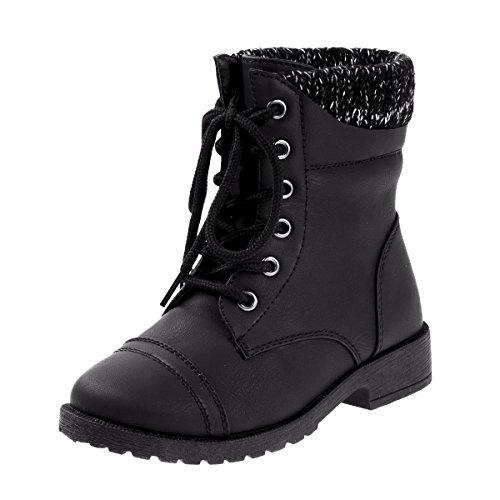 Galleon Josmo Girls Combat Boot With Knit Sweater Cuff Black
