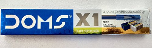 Doms X1 X-Tra Super Dark Pencils 1 Pack - 10 Pencils - 1 Eraser + 1 Sharpner + 1 Protection Cap Free