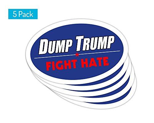 StickerPirate 5 PackOval Car Magnet Trump 2020 Dump Trump Fight Hate TO413