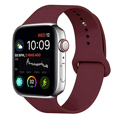 MOOLLY for Watch Band 38mm 40mm, Soft Silicone Watch Strap Replacement Sport Band Compatible with Watch Band Series 5 Series 4 Series 3 Series 2 Series 1 Sport & Edition (38mm 40mm S/M, Wine Red) (Best Red Wine Brands With Price)