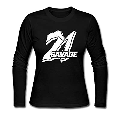Custom Black 21 Savage Logo Women's Long Sleeve T-Shirt