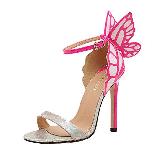 Hee Grand Damen Sommer schleife Schmetterling Schuhe Sandalen Pumps Abendschuhe CN 40 Silber