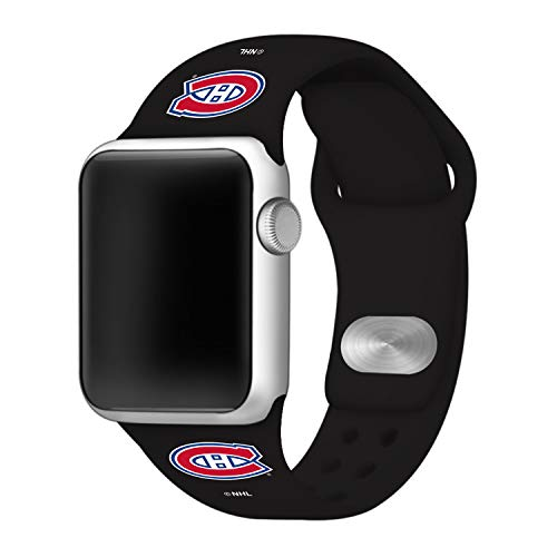 (GAME TIME Montreal Canadiens Silicone Sport Band Compatible with Apple Watch - 42mm/44mm Black)