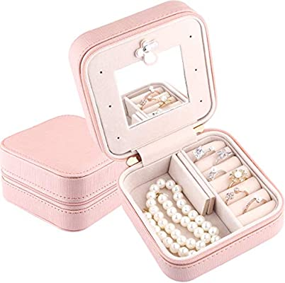Pink-1 Travel Mini Organizer Portable Display Storage Case for Rings Earrings Necklace,Gifts for Girls Women JIDUO Duomiila Small Jewelry Box