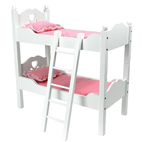Captivating 18 Inch Doll Furniture, Bunk Bed In White Cutout Design, Ladder U0026 2 Doll