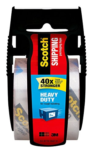 Price comparison product image Scotch Heavy Duty Shipping Packaging Tape with Dispenser,  1.5 in Core,  1.88 in. x 800 in,  Clear,  1 Dispenser / Pack (142-BL) 3 Pack