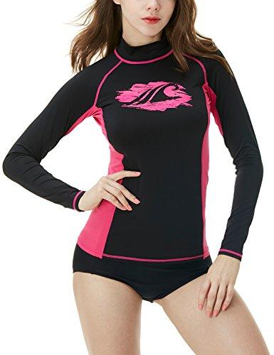 TSLA Women's UPF 50+ Slim-Fit Long Sleeve Athletic Rashguard, Basic Print(fsr26) - Black & Magenta, Large]()