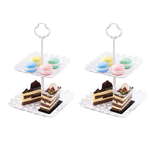 Cupcake Stand, Imillet 2 Set Of 2 Tier Cake Stand White Dessert Stand Plastic Serving Stand for Wedding Baby Shower Birthday Graduation Tea Party Home Decor (Square)