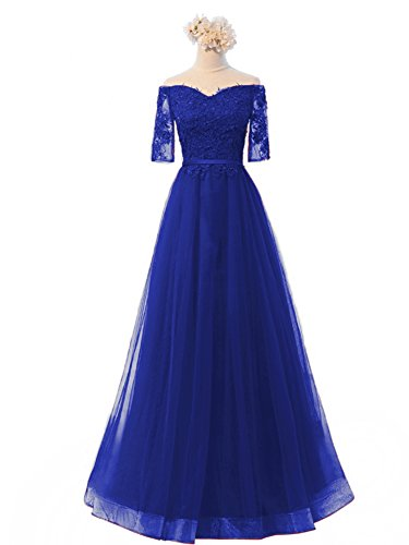 Royal Prom with Dresses Sleeve Lace Dreagel Women Gowns Blue Half Shoulder Bridesmaid Long Off Appliques vwwORx8