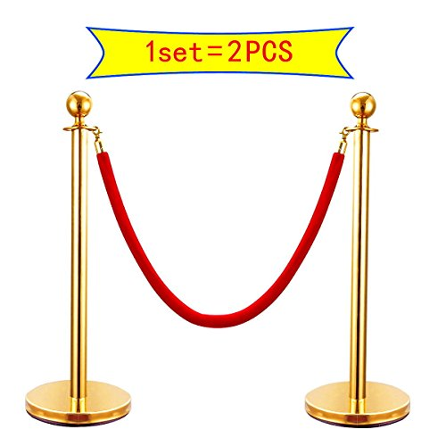 SKEMiDEX---6 PCS Velvet Rope Stanchion Gold Post Crowd Control Queue Line Barrier. Sturdy bases with stainless steel plates provides additional stability Easy assembly no special tools needed by SKEMiDEX (Image #3)