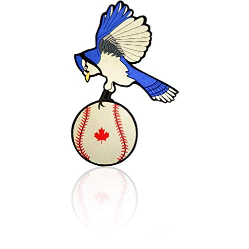 Blue Jay Back Patch Iron on & Sew on Toronto Baseball Embroidered Applique Decoration DIY Craft for Tshirts, Denim Jackets, Hats, Bags (Canada Toronto Hat)