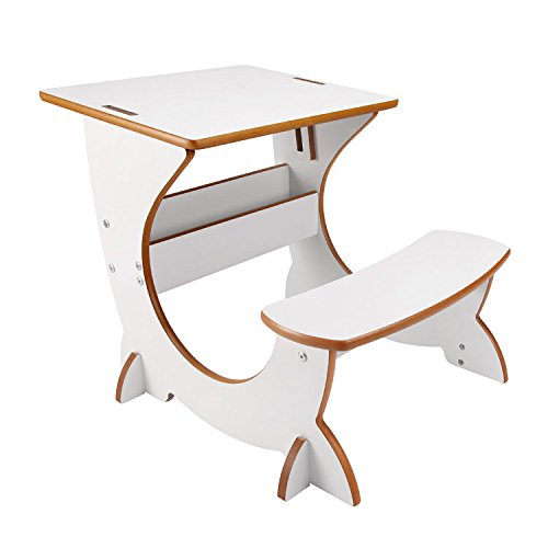 Little Helper Study Desk for Kids with Reversible Blackboard and Easel - Students 4-in-1 Art Station, White - Multi-function Activity Center