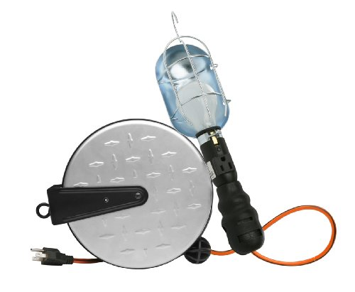 Retractable Extension Cord Reel with Metal Incandescent Work Light, 25-Foot, Chrome ()