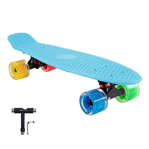 WHOME LED Wheel Skateboard Complete for Adults and Beginners – 22 Inch Cruiser Skateboard with 60x45mm LED Light Up Wheels for Cruising Commuting Rolling Around T- Tool Included