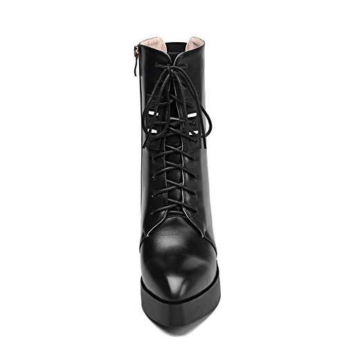 Allhqfashion Women's High-Heels Pointed Closed Toe Blend Materials Mid-Calf Boots Black IDuXz1FCgy