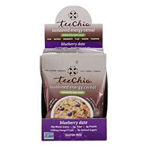 TeeChia Cereal - Sustained Energy - Blueberry Date - 6/1.76 OZ Packets - 1 Case