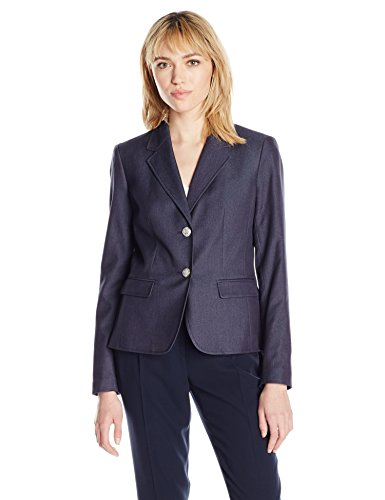 Nine West Women's Polished Denim 2 Button Jacket, Navy, 16