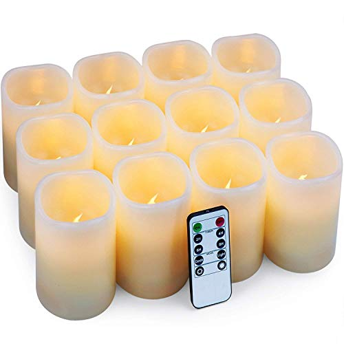 "Hausware Flameless Candles LED Candles Set of 12 (D:3"" X H:4"") Battery Operated Candles Flickering Bulb Pillar Ivory Real Wax Electric Candles with Remote and Timer, Ivory, 3""x4"" Set of 12"