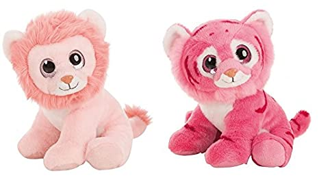 Plush toys - Dark Pink Tiger and light pink Lion with eyes bright 11,80""