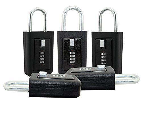 Lion Locks LS-8900 REALTOR Key Lock Box - 5 Pack Lockbox Combination 4 Pin Dial Safe Vault - Portable Outdoor Stor a key - Door Handle or Fence Mount - Heavy Duty Slimline Storage by Lion Locks (Image #1)