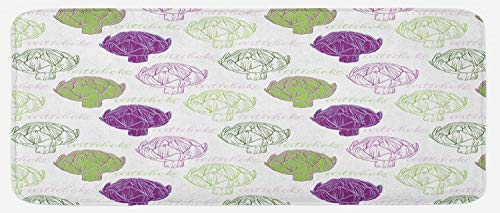 Ambesonne Artichoke Kitchen Mat, Sketch Style Vegetables Hand Drawn Style Exotic Tasty Healthy Food, Plush Decorative Kithcen Mat with Non Slip Backing, 47 W X 19 L Inches, Lime Green and Purple