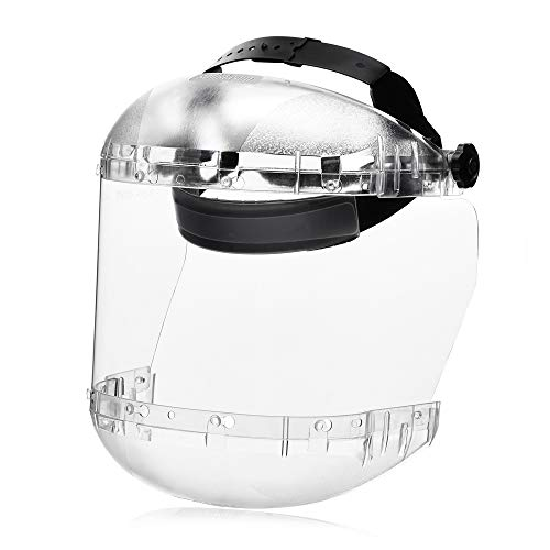 (Sellstrom S38440 Max Light Series Face Shield, Anti-Fog Acetate Window with Ratchet Headgear, Universal, Clear, Made in USA)