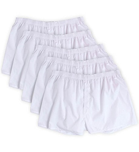 ns 5-Pack Solid White Boxers 5P595 (Medium (Waist 32-34)) ()