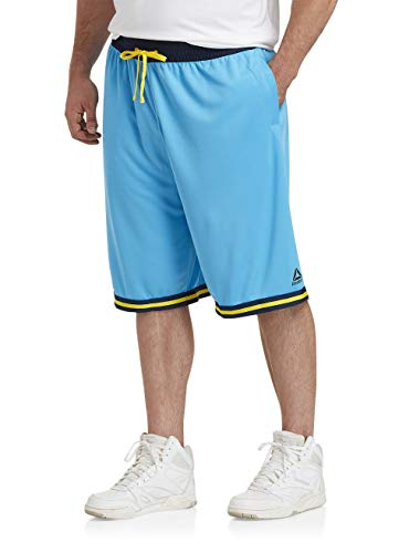 Reebok Performance Retro Basketball Shorts, Cyan Toxic Yellow, 5XL (Cyan Shorts)