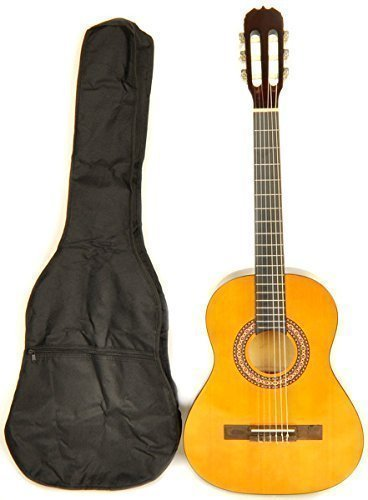 Left Handed Classical Acoustic Guitar 3/4 Size (36 inch) Nylon String w/Bag Omega Class Kit 3/4 NA LH by Omega