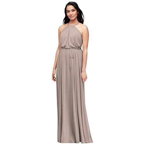 (Soft Mesh Halter Bridesmaid Dress with Slim Sash Style F19533, Biscotti, 12)