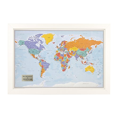 Personalized Push Pin World Travel Map with Textured White Frame and Pins - Blue Oceans 24 x 36 (White Personalized Print)