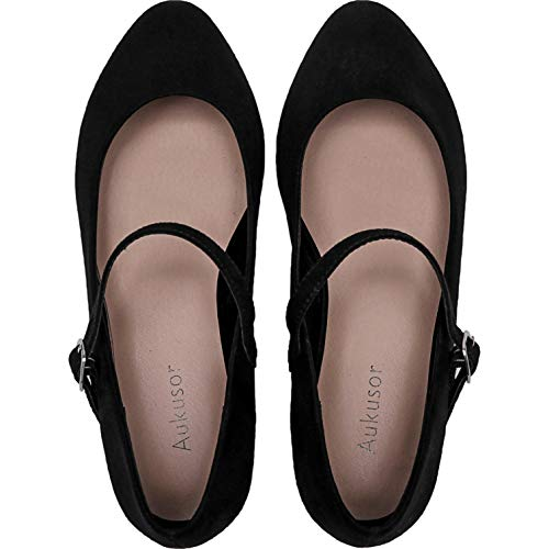 Women's Wide Width Flat Shoes - Comfortable Classic Pointy Toe Mary Jane Ballet Flat(Black 180819,8.5WW)