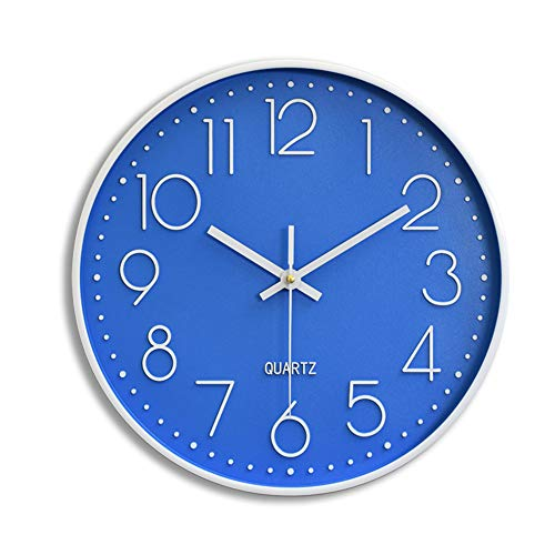 Large Digital Wall Clock Simple Round Quiet Clocks No Ticking Noise Cool Big Modern Wall Clocks for Bathroom,Living Room, Kitchen, Classroom,Lounge, Office Easy to Read 12 In Blue Wall Clock