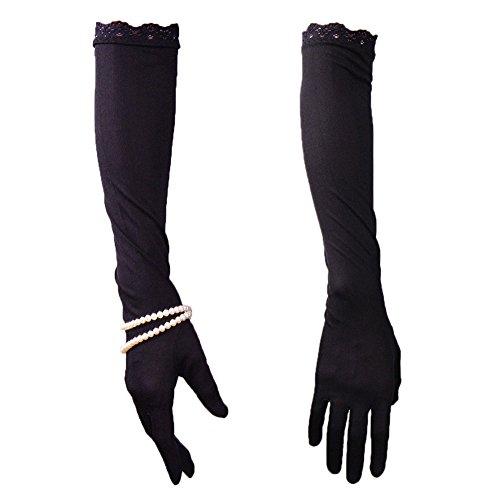 - 100% Silk Elbow Long Gloves Stretchy Satin Black UV Sun Protect TECH Touchscreen