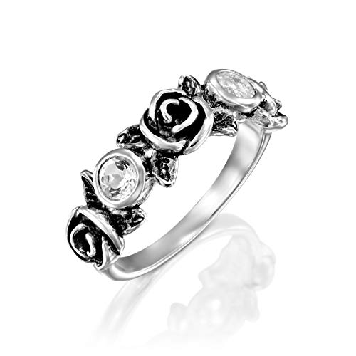 (PZ Paz Creations .925 Sterling Silver Gemstone and Rose Flower Ring (10, Clear Quartz))