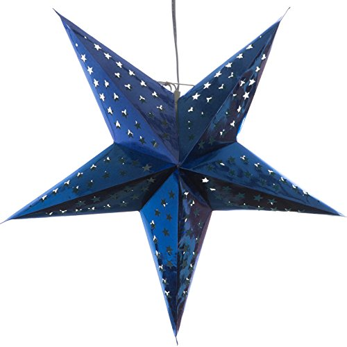 Hologram-Blue-Paper-Star-Light-Lamp-Lantern-with-12-Foot-Power-Cord-Included