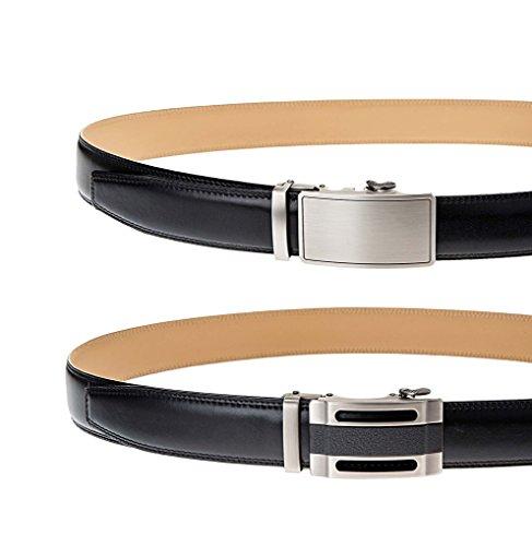 Men's Full Grain Cowhide Leather Belts set, 1 belt+2X Solid Automatic Ratchet Buckles set (XL (up to 44