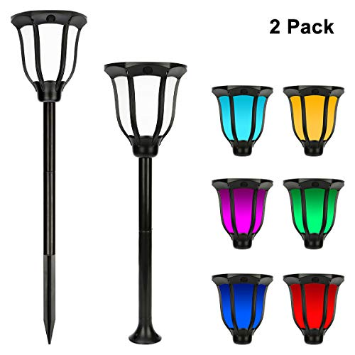 Miserwe Solar Lights Outdoor 2 Pack IP65 Waterproof Solar Landscape Lights for Lawn Patio Yard Pathway Walkway Auto On Off 4 Type of Installation with 6 Different Colors by Miserwe