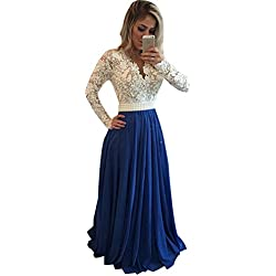 LISA.MOON Women's V Neck Long Sleeves Back Hole Lace Applique Pearl Evening Gown Royal Blue 10