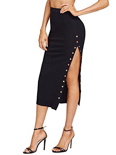 ROMWE Women's Sexy Button High Slit Ribbed Skirt Black S