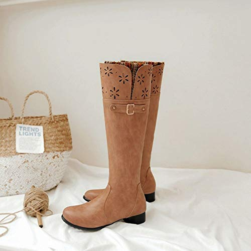 Women Long Boots Brown Heel Shoes Comfort Taoffen Low W74w6wx