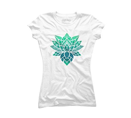 Lotus Flower Ornament Juniors' Medium White Graphic T Shirt - Design By Humans -